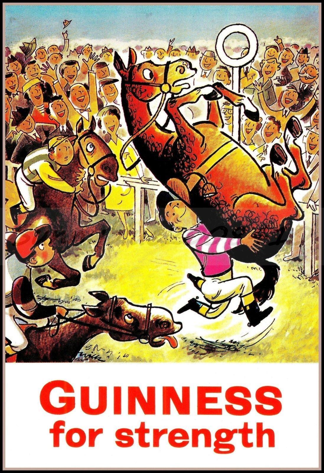 Guinness Horse Race Retro Style Vintage Poster Art Print Home Bar ...