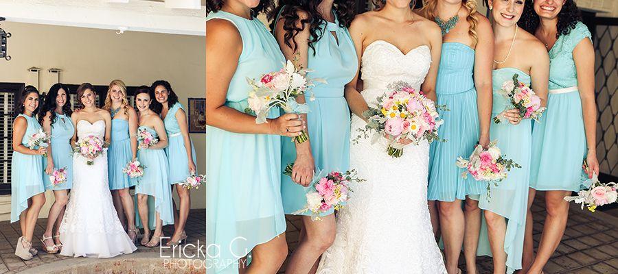 blue and pink bridesmaids- ericka G. photography