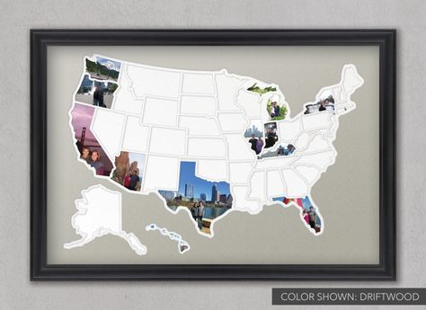 It is a reprojected and cropped portion of the most detailed. 50 States Photo Map A Unique Usa Travel Collage Etsy Travel Collage Travel Map Diy Photo Maps