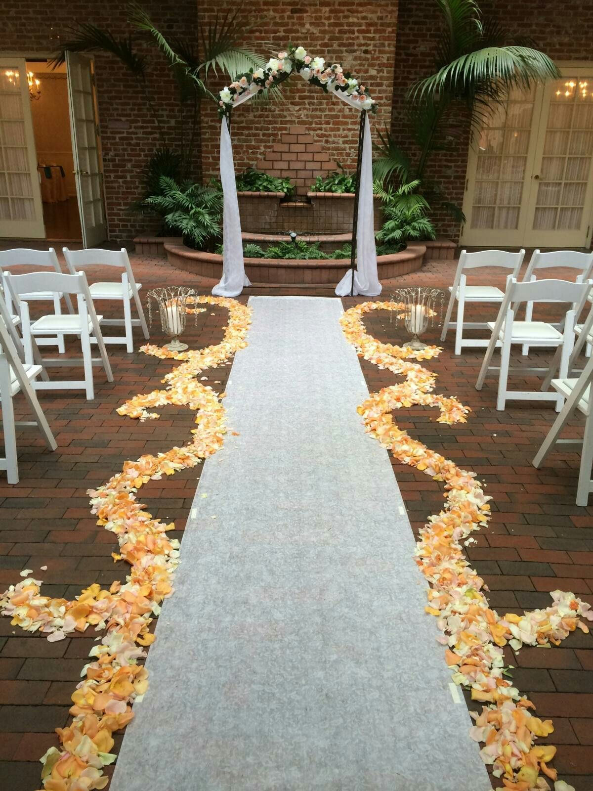 Colorful Rose Arch Yellow Petal Aisle Runner White Green Pink Roses Outdoor Wedding San Go Venues Four Seasons Flowers