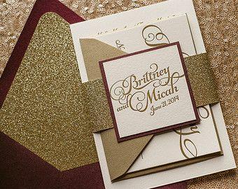 Wine & Gold Fall Wedding Invitation, Gold Glitter Wedding Invite, Calligraphy Invitation, Burgundy Invitation - Sample Set