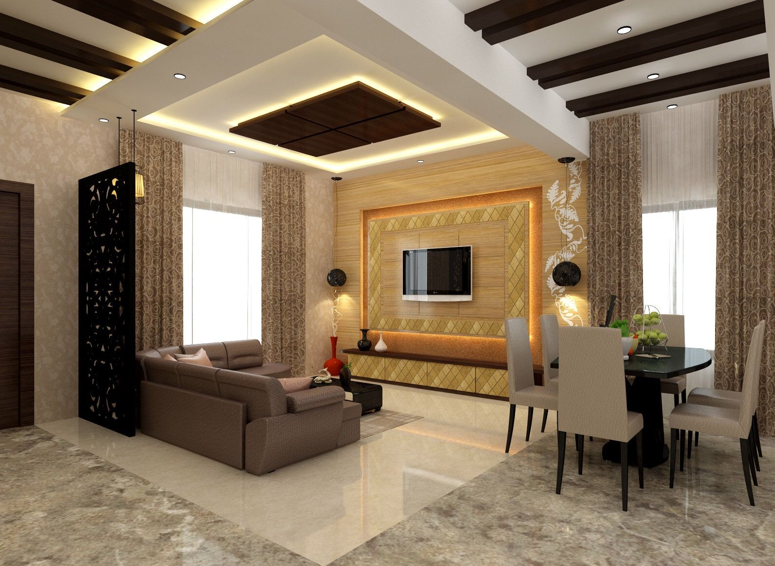 Living Room luxury style with dinning Area Ceiling