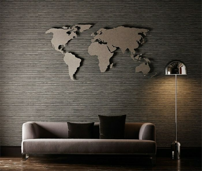 wand im wohnzimmer weltkarte als wanddeko wall. Black Bedroom Furniture Sets. Home Design Ideas
