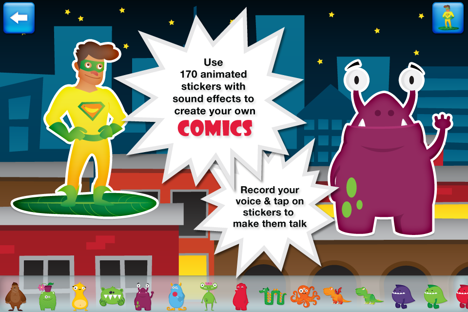 Pixels & Pencils - Superhero Comic Book Maker - Pow! It's so easy to bring comics to life with this app. You can even record voices and animate your characters.