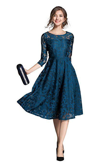 Mode Hochzeitsgastekleidung Damen Vintage Rundhals Flare 3 4 Armel Knie Lang A Linie Stickerei Sp Festliche Kleider Knielang Party Kleider Kleid Hochzeitsgast