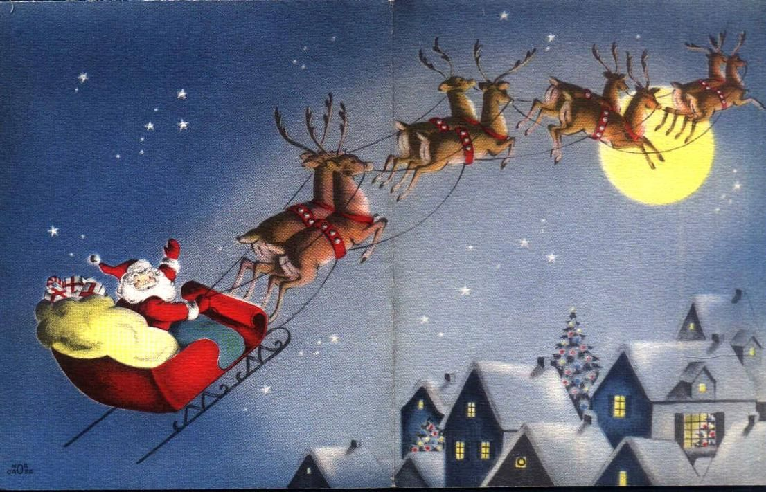 Images Of Santa Flying Across The Moon Vintage Christmas Images Vintage Christmas Christmas Art