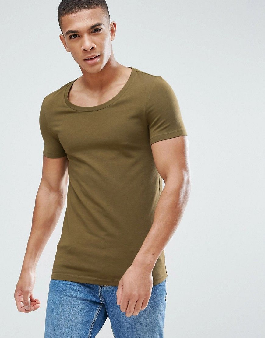 6caa9903 Extreme Muscle Fit Scoop Neck T-Shirt In Green | Products | ASOS ...