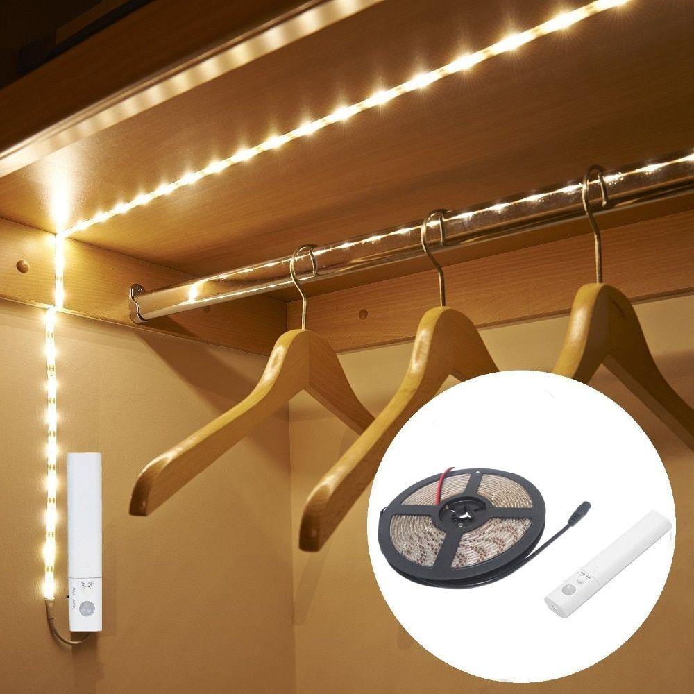 5 V Led De Luz De Tira Con El Sensor De Movimiento 3528 Smd 5050 Led Usb Cinta Tv De Luz Ninos Motion Sensor Closet Light Closet Lighting Motion Sensor Lights