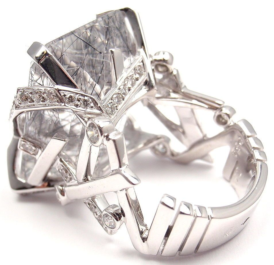 CHANEL Large Rutilated Quartz Diamond White Gold Ring | From a unique collection of vintage cluster rings at http://www.1stdibs.com/jewelry/rings/cluster-rings/