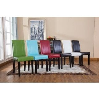 Urban Style Solid Wood Leatherette Small Padded Parson Chairs (Set Of