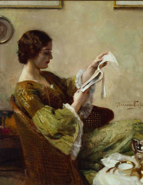 Herman Jean Joseph Richir (Belgian, 1866-1942) - Young Woman Reading