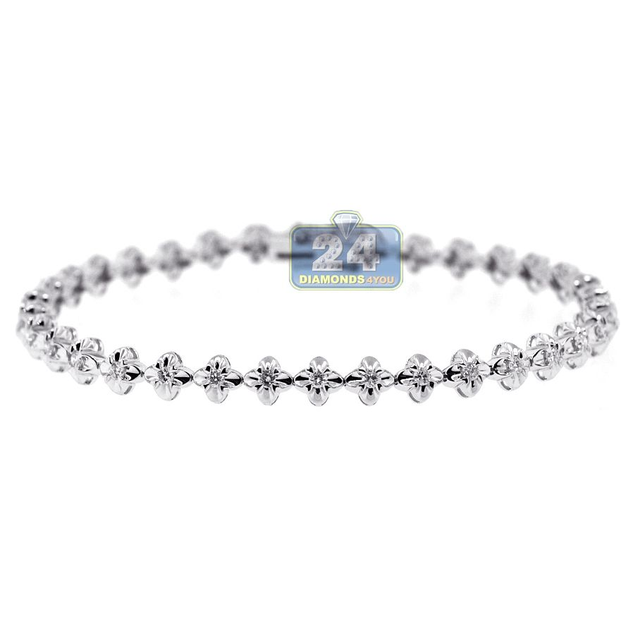 K white gold ct diamond flower halo womens bracelet womens