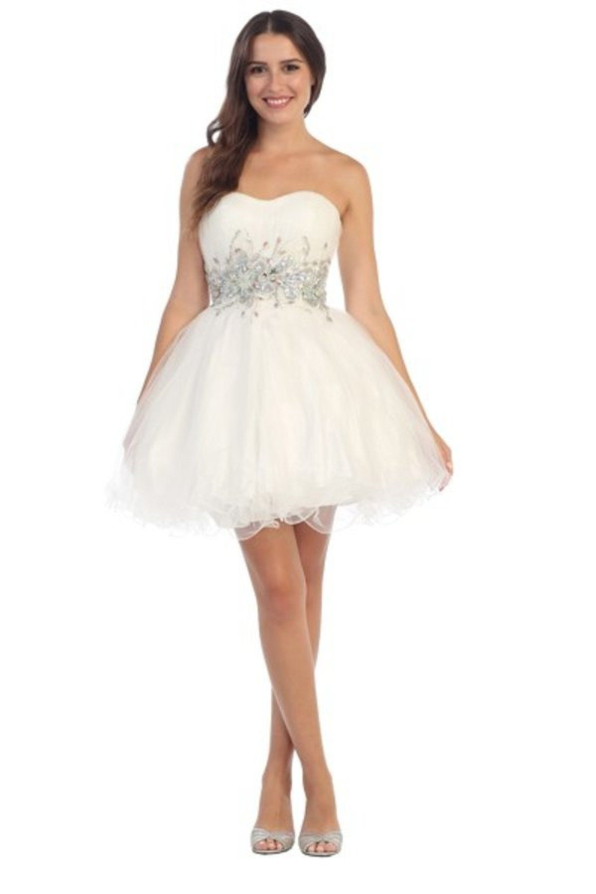 3601fe85d0dd Beaded Short Strapless Dress with Ruffled Skirt by Star Box 6057 in ...