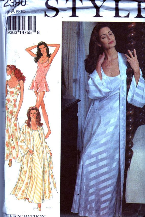 Style 2380 Misses Lingerie Nightgown Kimono Robe and Teddy Pattern ...