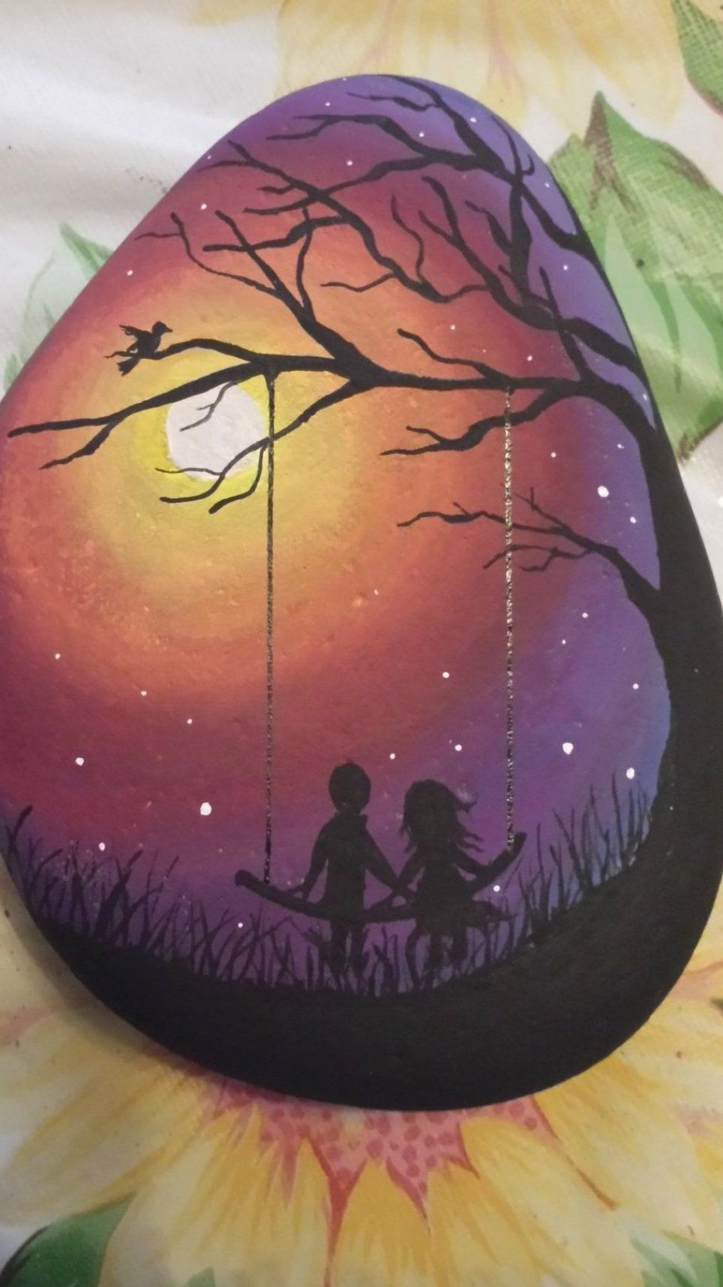 Hand painted boy and girl silhouette night scene - hand painted by Jessica Burcell #abstract #painting #painting #techniques #flower #painting #body #painting #acrylic #painting