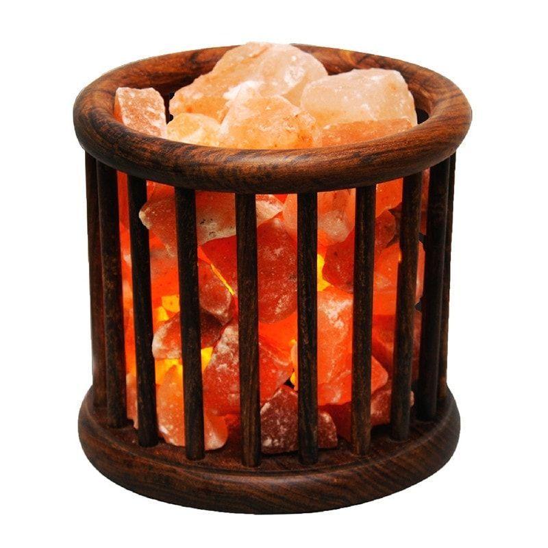 Himalayan Salt Lamp Wooden Basket Salt Lamp Salt Stone Lamp Himalayan Salt Lamp