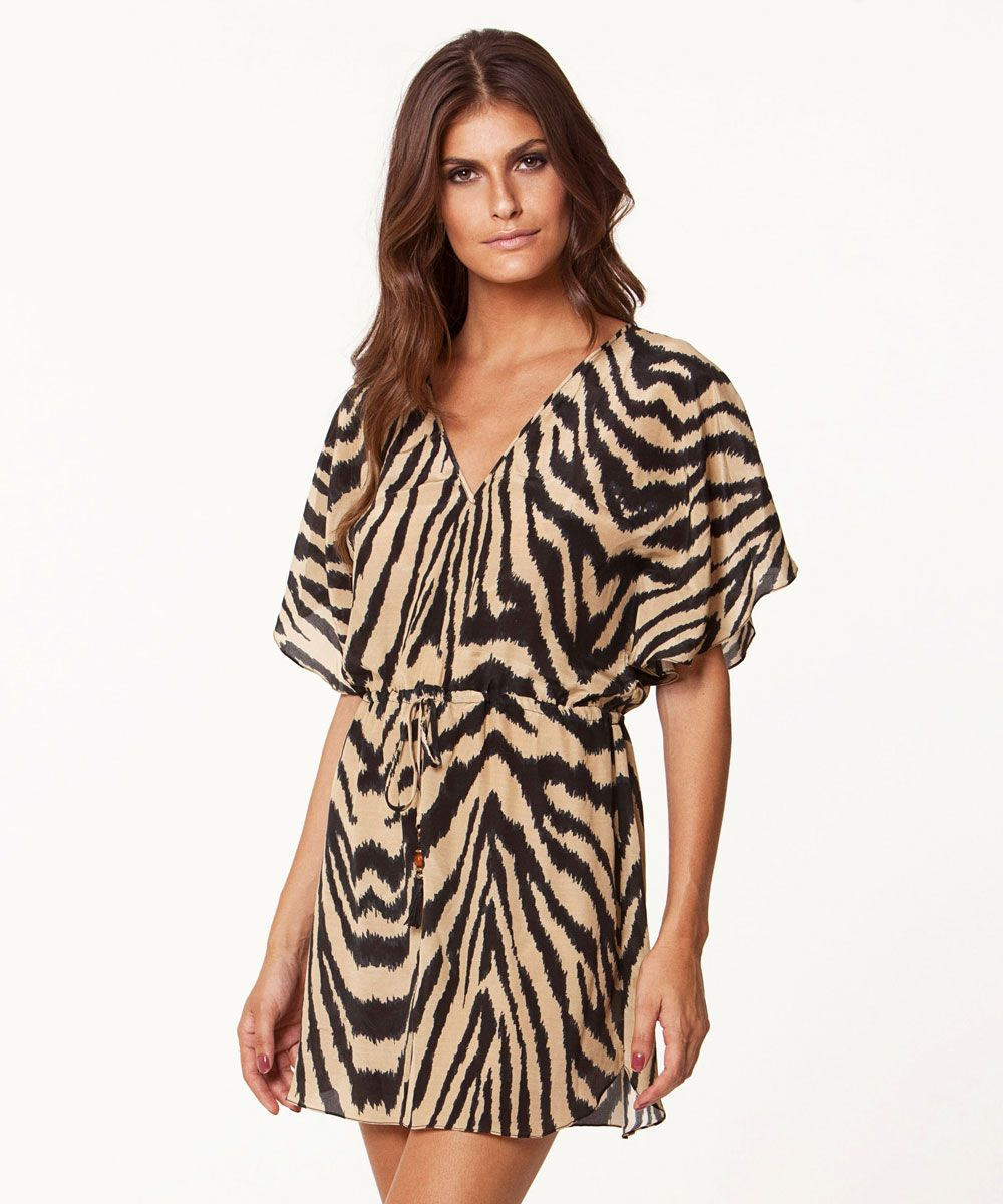 Black tan tiger print cover up dress summer pinterest tiger