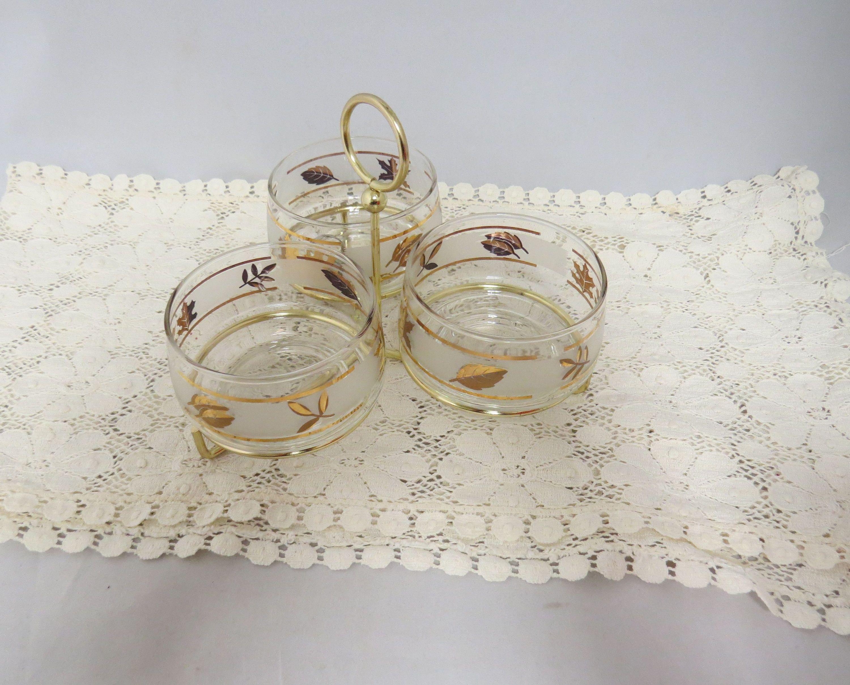 Vintage Gold Leaf Condiment Server Libbey Glass Kitchen Ware Kitchenware #kitchenware