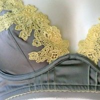 yellow lace against gray.