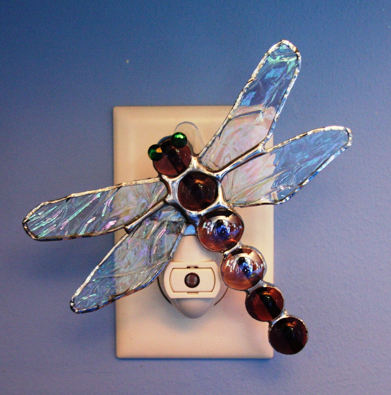 Purple Jeweled Stained Glass Dragonfly Night Light