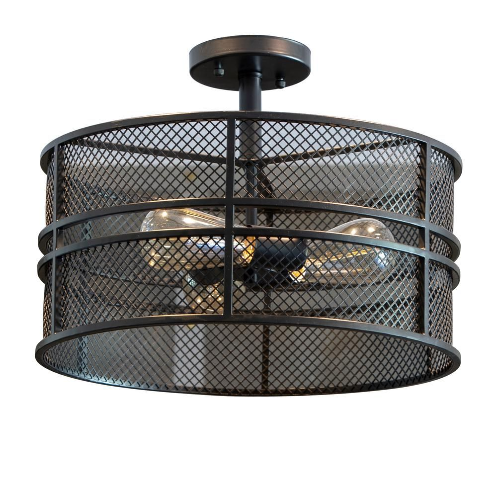 Decor Therapy Rixon 3 Light Black Mesh Shade Semi Flush