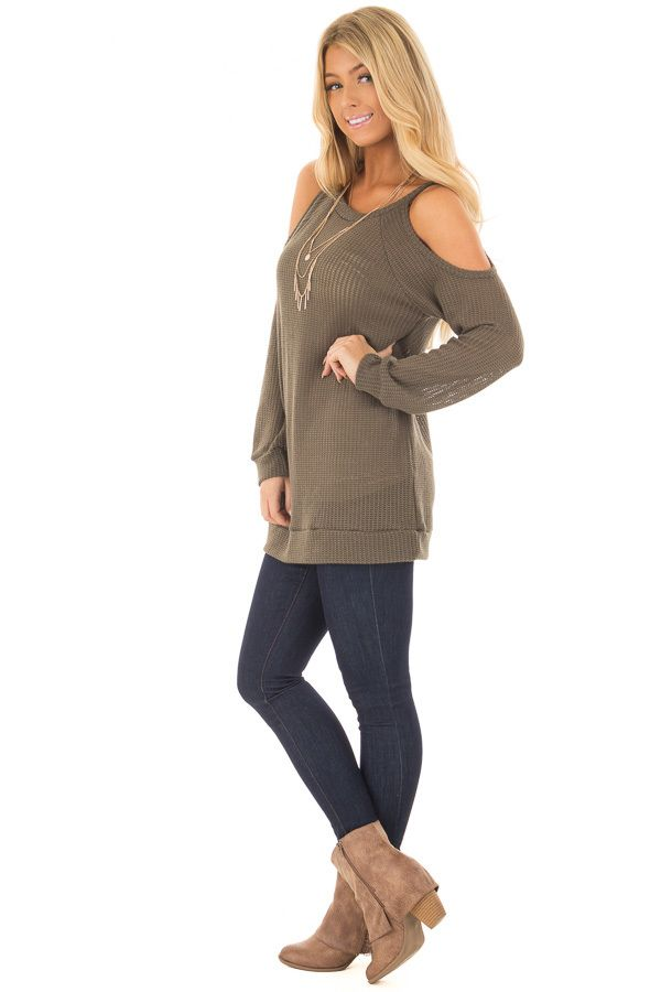eac8dcdc69b3e Olive Lightweight Cold Shoulder Sweater with Keyhole Back front close up