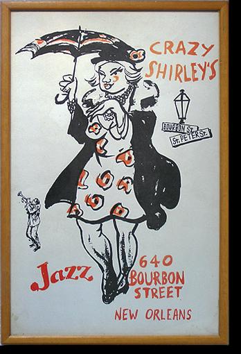 Rare 1970s poster: Crazy Shirley's jazz bar