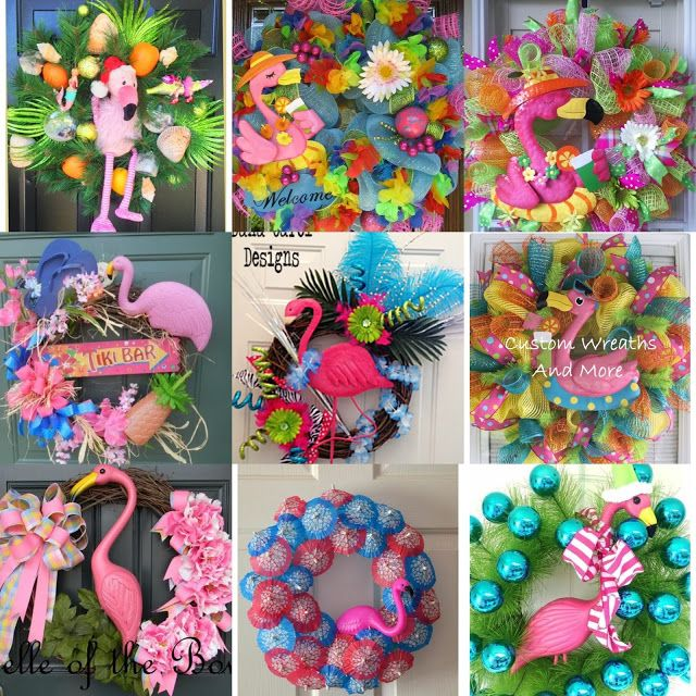 Flamingo Deco Mesh Wreath