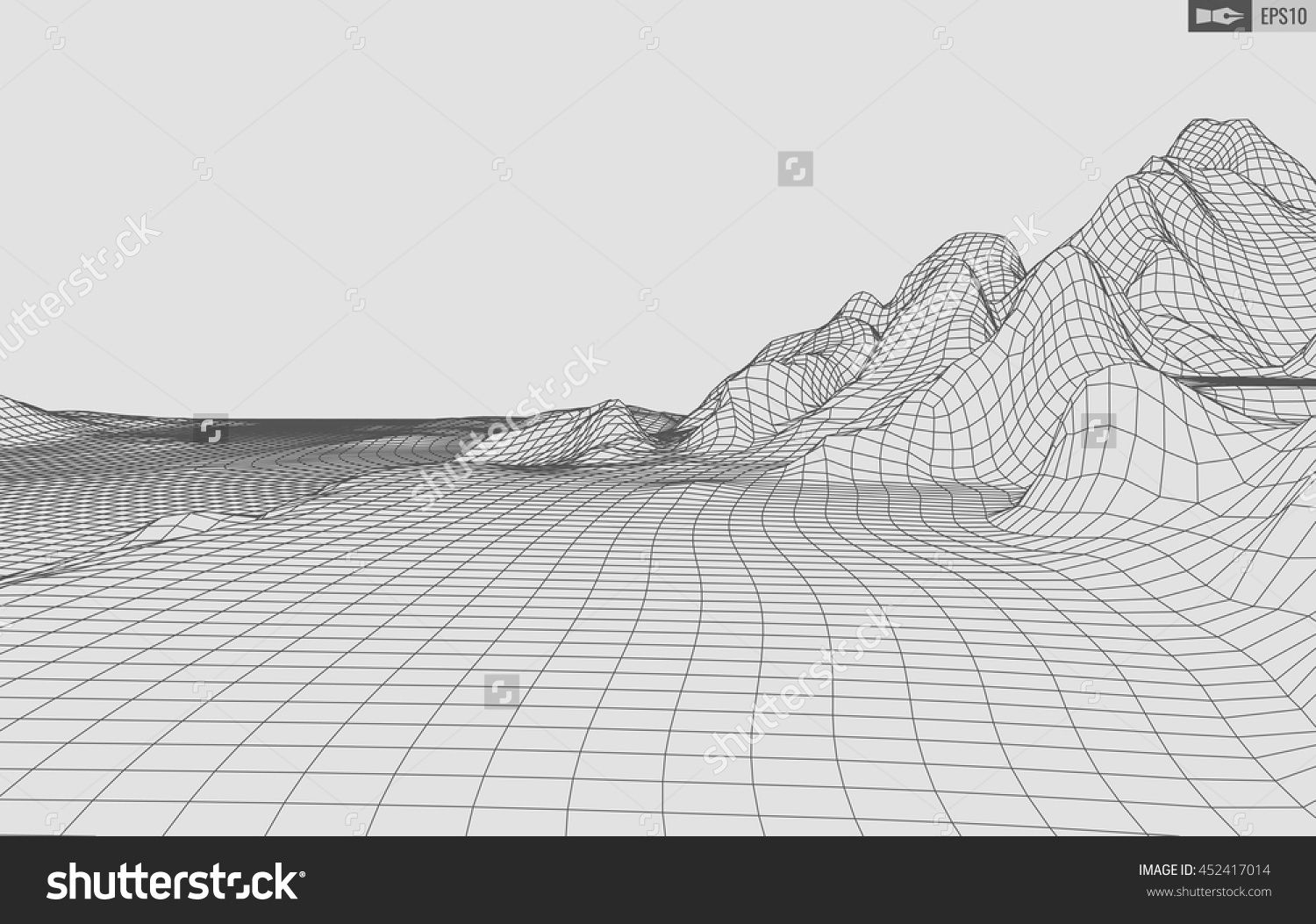 Abstract Vector Wireframe Landscape Background. Cyberspace Grid. 3d ...