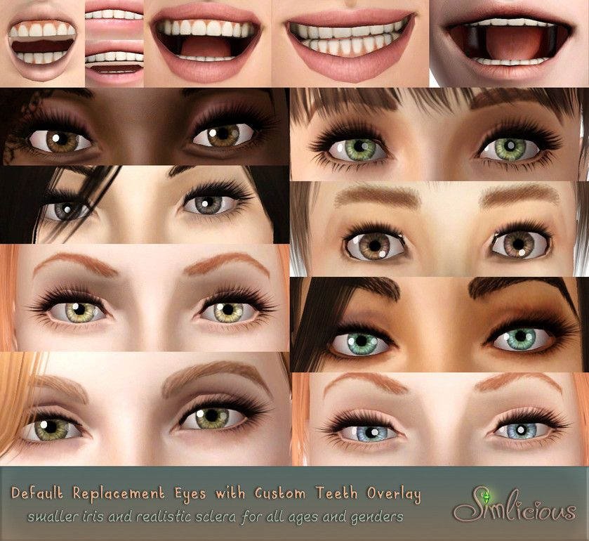 Default eyes and teeth Sims, Sims 3 makeup, Sims 3 mods