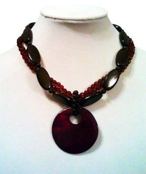 Bold Elements Bold Elements Fashion Clash Statement Necklace Plum, Walnut, & Auburn