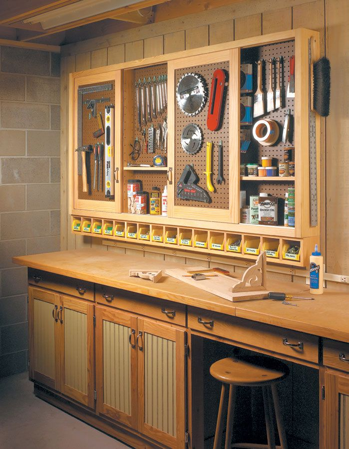 Sliding Door Shop Cabinet Woodsmith Plans Diy Garage Workshop In