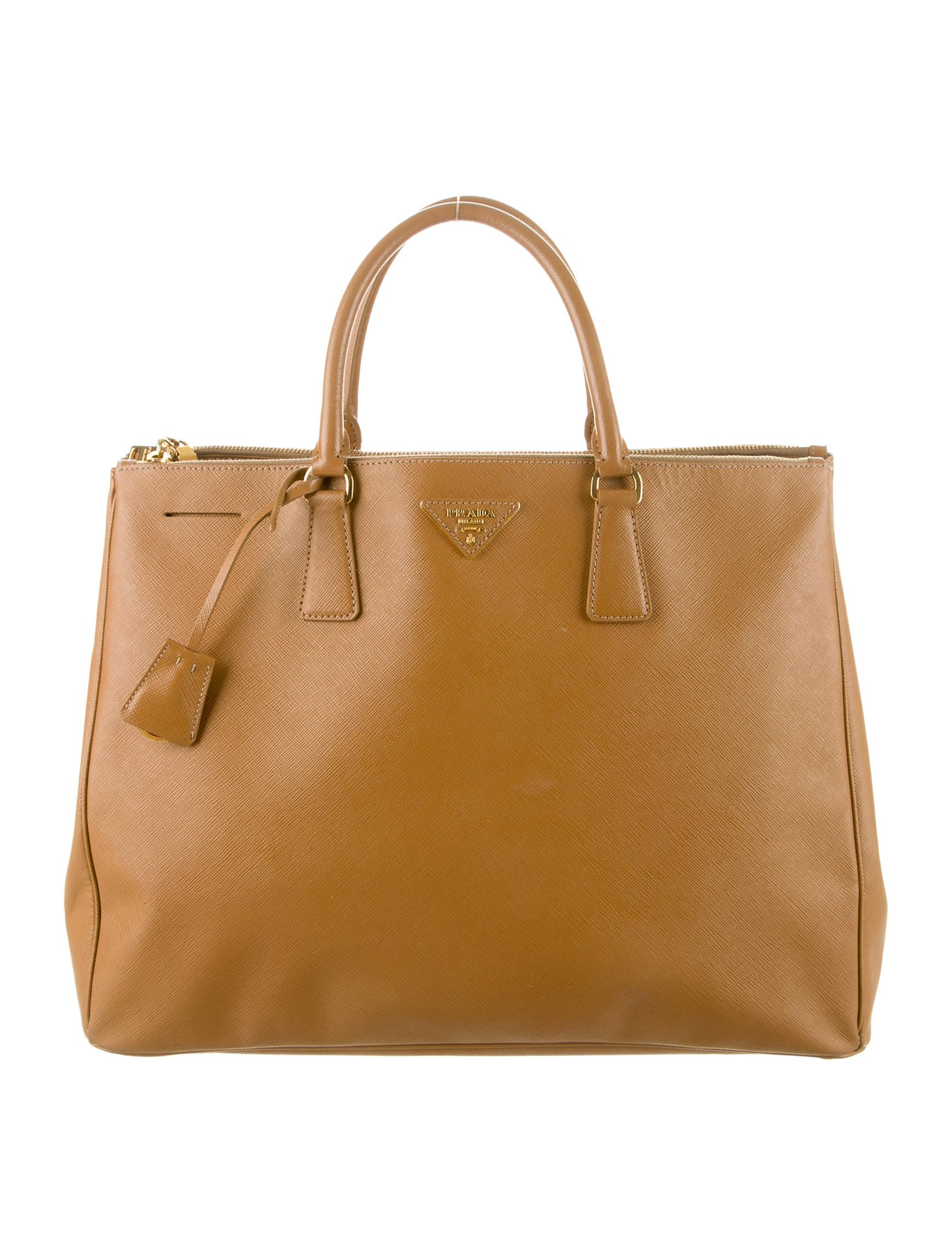 651aa97443e4 Camel leather Prada Saffiano Lux Large Double Zip tote with gold-tone  hardware, dual