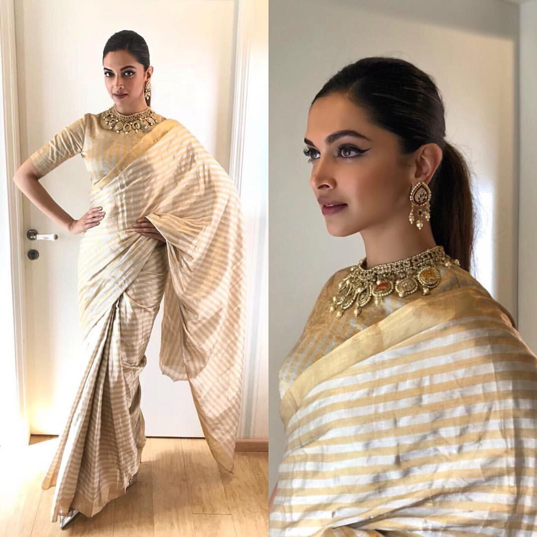 Deepika Padukone makes a strong case for metallic drape in ...