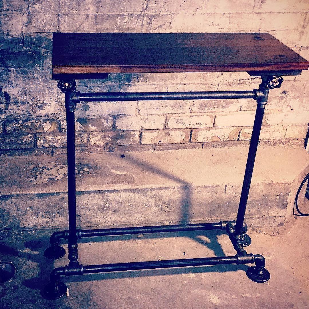 Done! Adjustable height standing desk #pipetable #pipe #walnut #madeincanada #handmade #woodworking #handmade #desk #standingdesk #rustic by stx.stnz