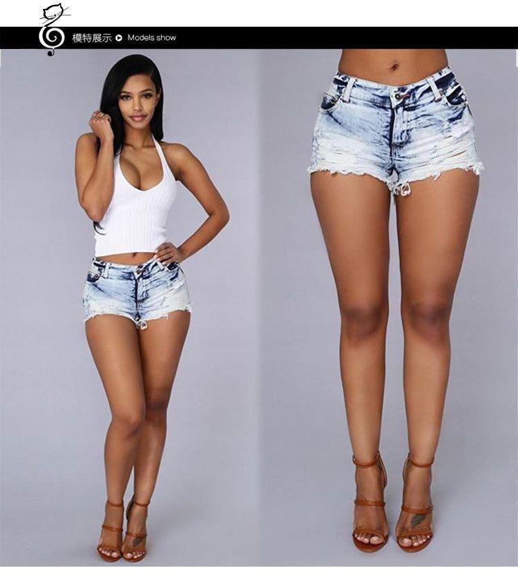fa0924eea952 Women Summer Fashion Sexy Short Jeans Denim Stretchy Casual Leggings Holes  Pants