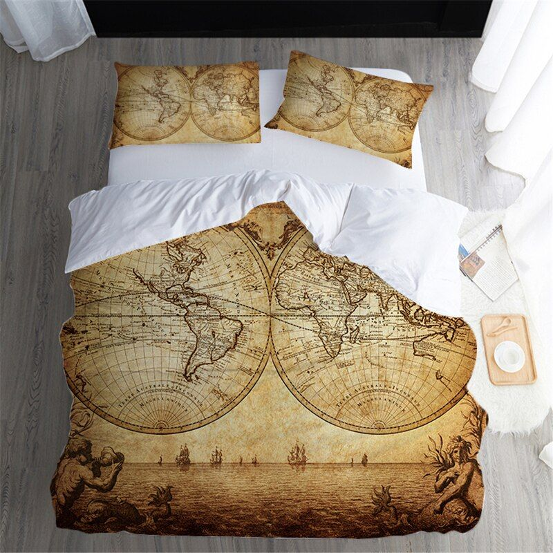 Fanaijia 3d Vintage Map Bedding Set Queen Size Duvet Cover Sets For King Pillowcase Au Queen Bed Bedline Home Textile In 2020 Duvet Bedding Duvet Cover Sets Map Duvet Cover