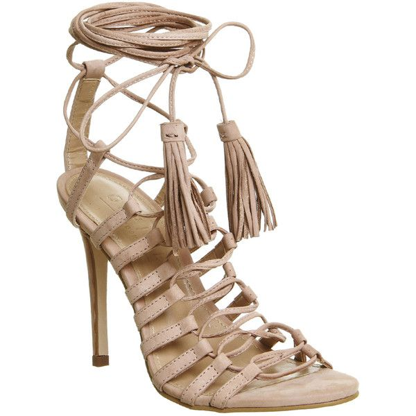 Office Adorned Multi Strap Tassel Heels (26.845 HUF) ❤ liked on Polyvore featuring shoes, sandals, heels, high heels, nude nubuck, women, lace up sandals, nude heel shoes, tassel sandals and strappy high heel sandals