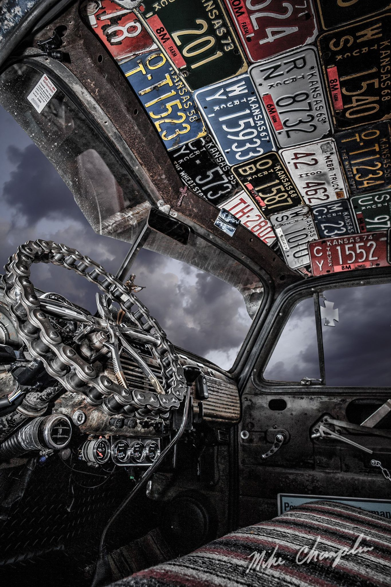 Advanced Design Chevrolet Rat Rod Interior With A Sick Custom Steering Wheel Made From Heavy