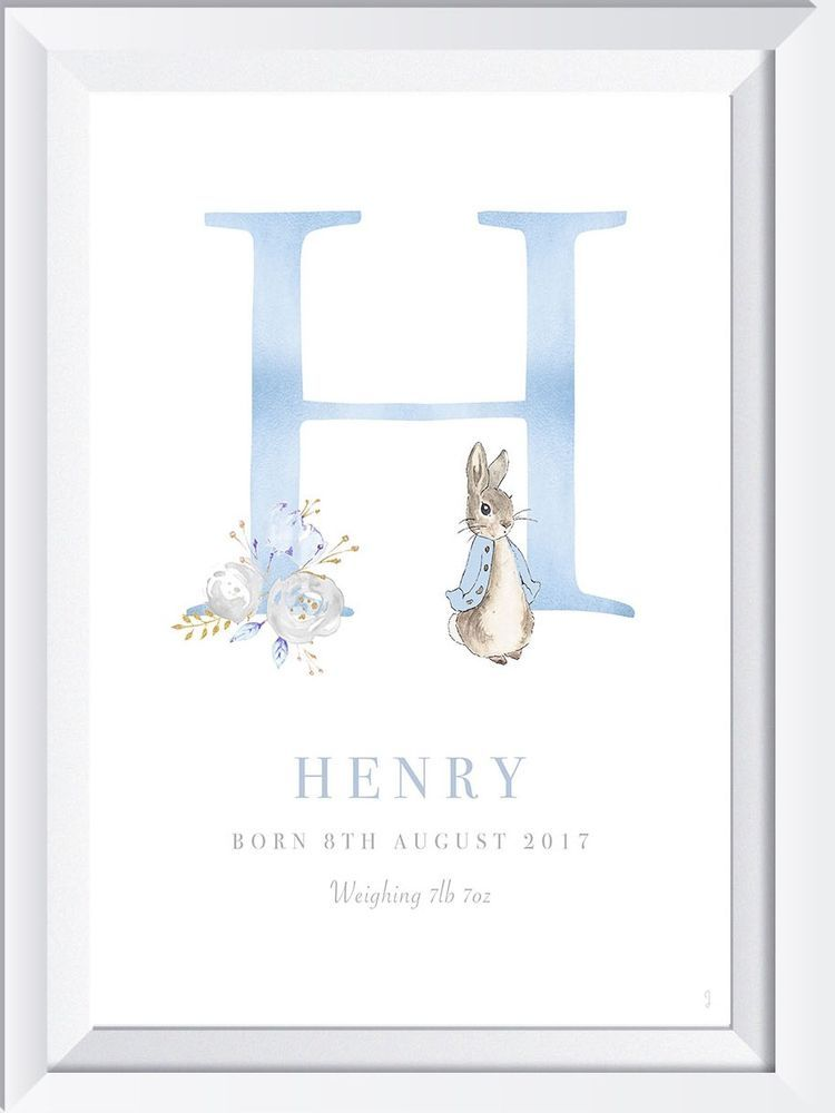 Personalised baby child Peter Rabbit name print picture ...