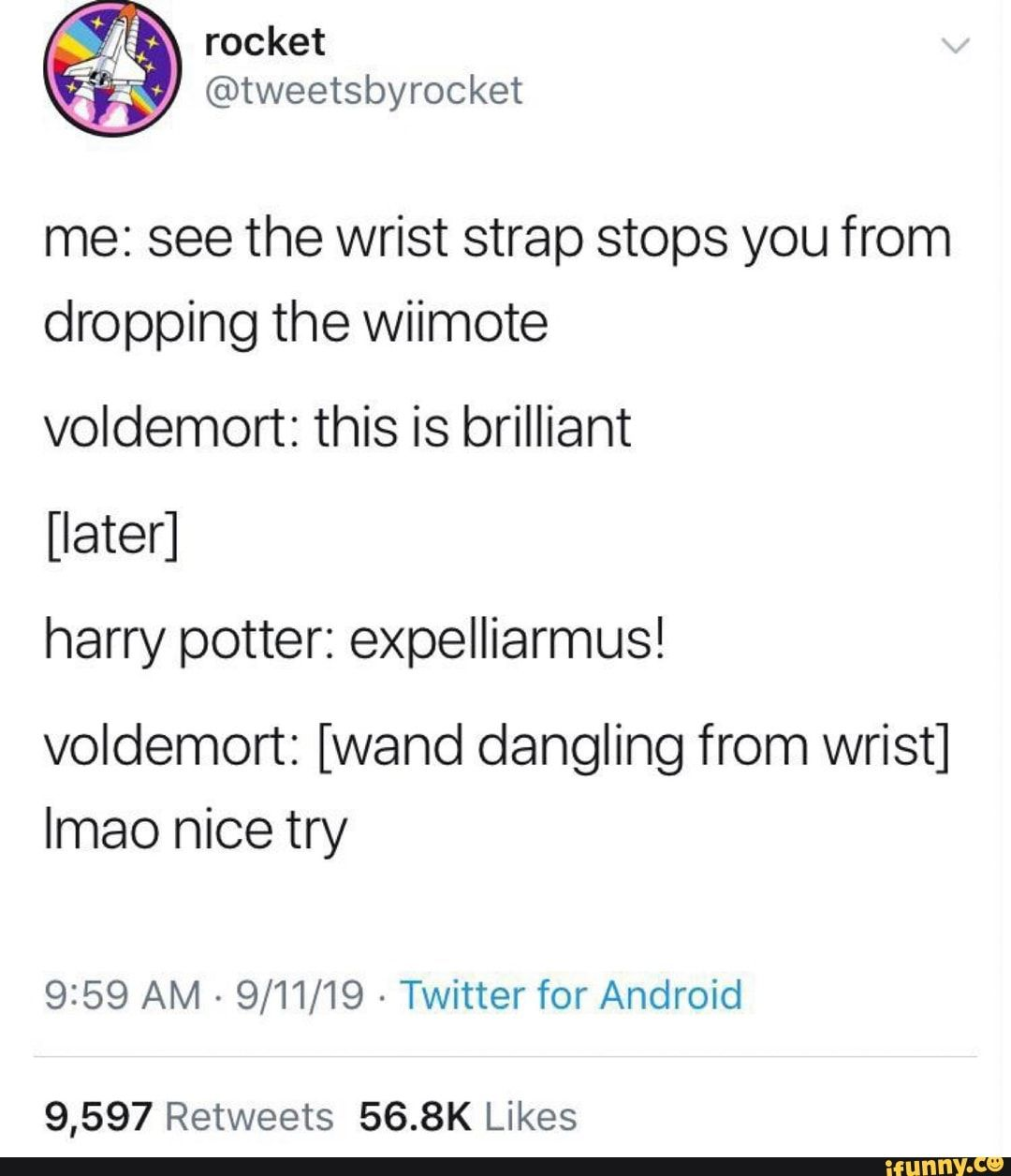 Me See The Wrist Strap Stops You From Dropping The Wiimote Voldemort This Is Brilliant Later Harry Potter Expelliarmus Voldemort Wand Dangling From Wris Harry Potter Feels Harry Potter Universal Harry
