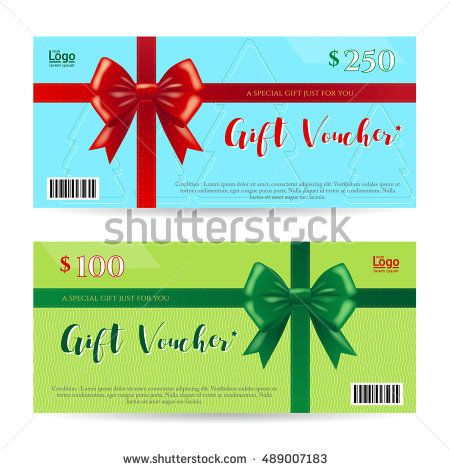 Christmas gift card or gift voucher template with shiny red and - christmas gift vouchers templates