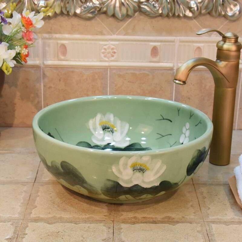 35cm Size Small Green Lotus Art Bathroom Sink Lavabo Washbasin Sink Countertop Washbasin Ceramic Wash Basin Bathroom Sink In 2021 Sink Countertop Sink Bathroom Sink New top ceramic bathroom size