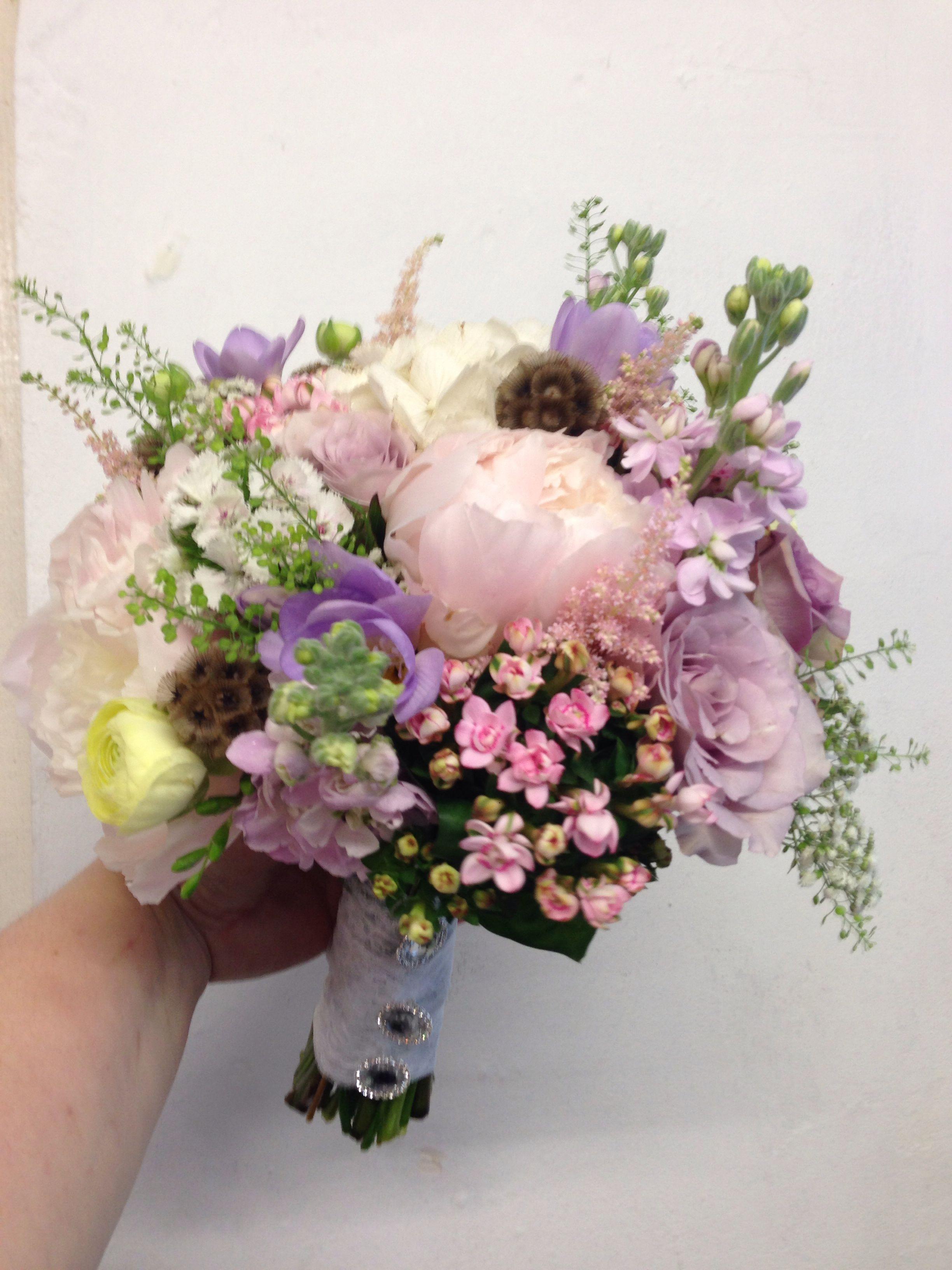 A textured mixed pastel hand tied posy bridal bouquet like us on a textured mixed pastel hand tied posy bridal bouquet like us on facebook search hocus crocus izmirmasajfo