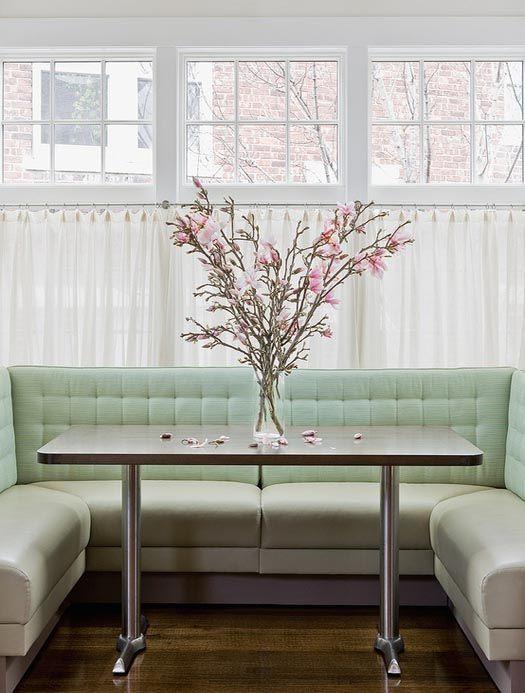 Elegant Mint Green Tufted Breakfast Nook