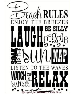 Wall Decor Plus More Beach Rules Subway Art Phrases And