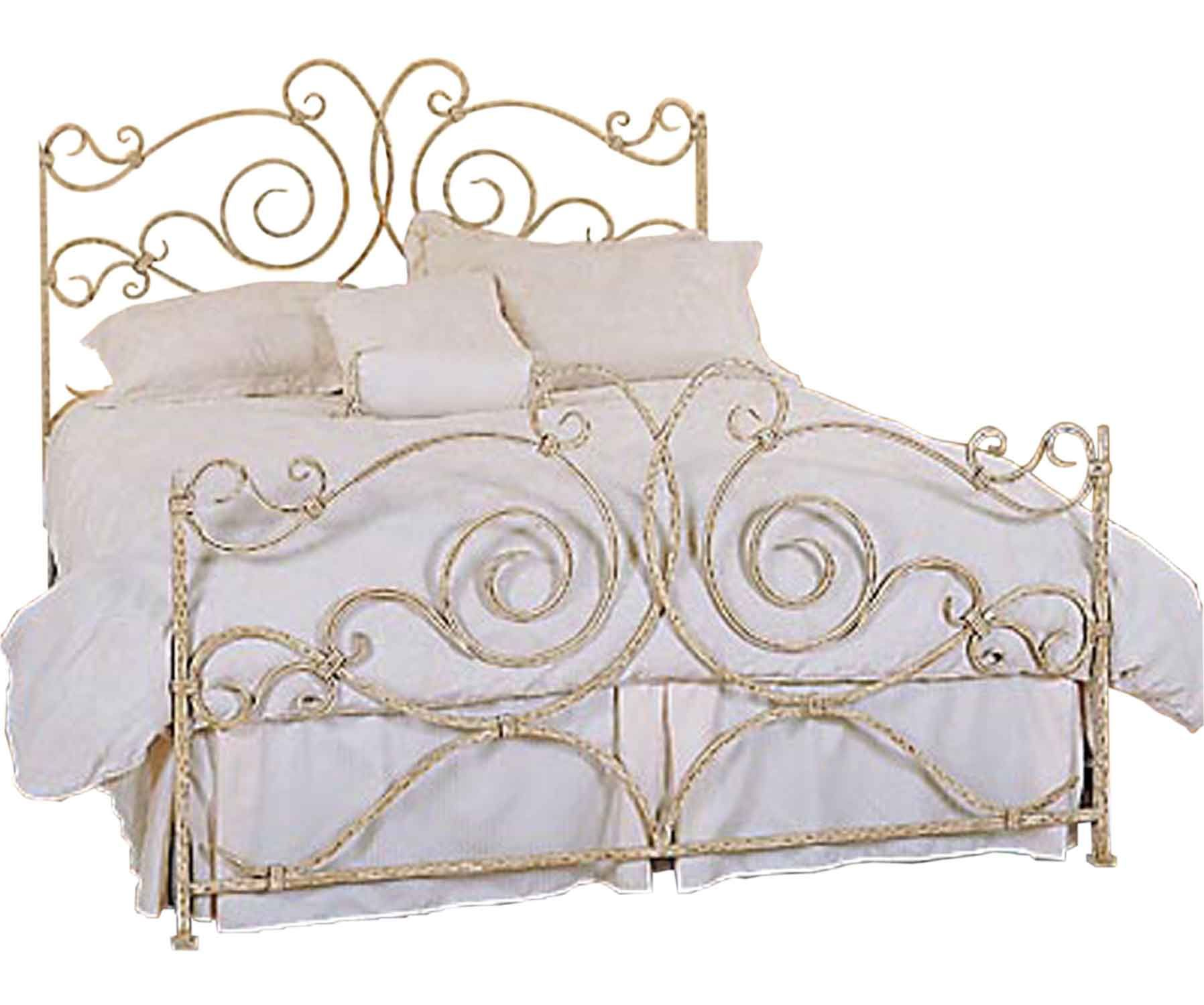 Shabby Chic Wrought Iron Bed Frame With White Bedding Set For Girl