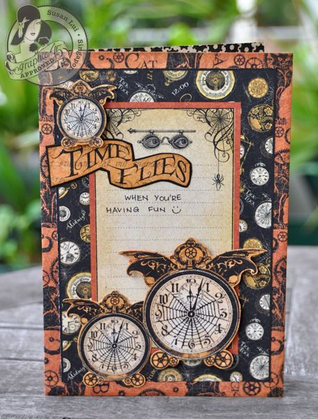 Learn how to make this amazing Steampunk Spells Halloween card with a fun tutorial by Susan Lui! #graphic45 #cards #tutorials