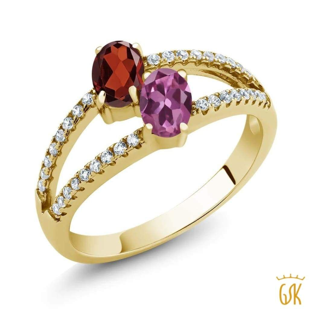 Gem Stone King 1.20 Ct Round Purple Amethyst Red Garnet 18K Yellow Gold Plated Silver Anniversary Ring