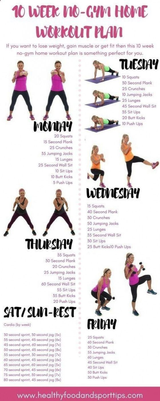 10 WEEK NO-GYM HOME WORKOUT PLAN by malinda #fitnessandexercises #fitness #and #exercises #work #out...